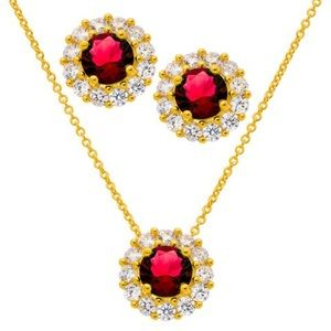 Ruby & CZ Necklace and Earrings Set